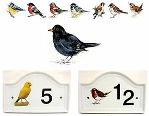 Blackbird Bird House Door Number Plaque  Ceramic House Sign Any Number