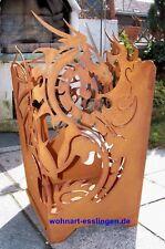 FE1-0187 Drachenfeuer Feuerkorb Feuerskulptur Drache Stahlblech Rost