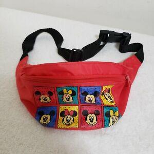 Kids Vintage Mickey Mouse Walt DISNEY & CO Red Travel Fanny Pack Bag Adjustable