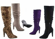 NEW Women's Pointy Toe Slouchy Stiletto Mid-Calf Knee High Boots Size 5.5 - 11