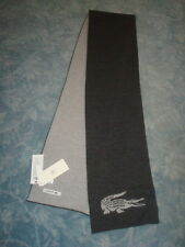 AUTHENTIC LACOSTE 100% WOOL REVERSIBLE GRAY SCARF