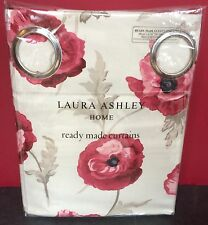 "Laura Ashley Eyelet Curtains Freshford Cranberry 64"" X 72 Long / 183cm Red Poppy"