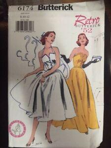 Butterick Retro 1952 Pattern #6174, Dress, Sz 8 to 12 factory folded
