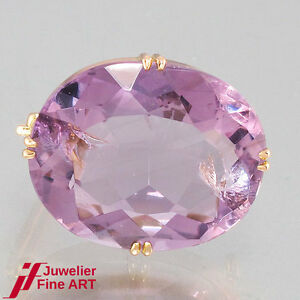 Brooch - 14K/585 Rose Gold - 1 Amethyst Oval, Approx. 20 CT - 5,8 G - Top