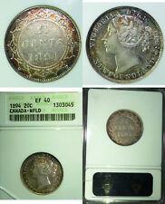 1894  Canada 20 Cents Newfoundland ANACS EF-40 Golden Toned