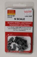 N Scale Micro Trains 00342061 (1018-S) 6-Wheel Ltweight Passenger Trucks, Silver