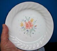 "8 PROMISE Corelle by Corning 7 1/4"" Swirl Salad Plates Blue Rims, Flower Centers"