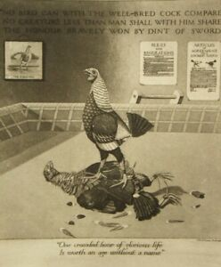 J. R. G. Exley pencil signed etching; Thomas Osbert Mordaunt; Cock Fighting 1925
