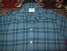 Vtg 1950s 1960s Golden Needle Manhattan Loop Collar Plaid Wool Blend M Shirt