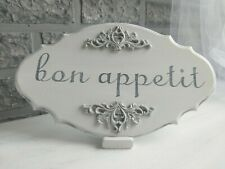 White Kitchen Plaque Bon Appetit Sign Distressed Wood Handmade New Home Gift