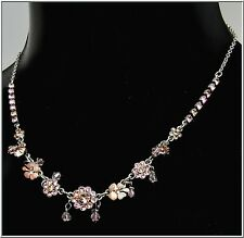 NEW PILGRIM SILVER PLATED NECKLACE PINK ENAMEL SWAROVSKI CRYSTALS FLOWERS BEADS