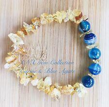 Gemstone Crystal Citrine ChipStone N Blue Agate Beads Stretchy Bracelet