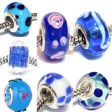 BLUE_Murano Glass Bead for Silver European Chain Charm Bracelet_Lampwork