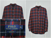 Mens POLO RALPH LAUREN Shirt Long Sleeve Wales Check Red Size XL Custom Fit
