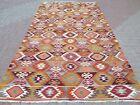 Vintage Turkish Denizli Kilim  Large Rug  Kelim  Teppich Carpet 69 X132  AreaRug