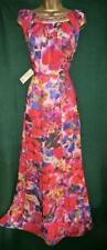 New MONSOON 14 Pink Red Floral Chiffon BLOOM Beaded Long Maxi Cruise Gown Dress