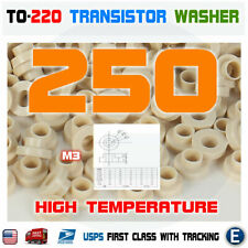 250pcs TO-220 High Temperature Insulation Brown Transistor Pads Washer Bushing
