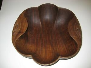"Vtg 11"" Wood Bowl - cut from one piece of wood - Unusual Carving and Detail"