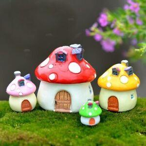 Kawaii Mini Mushroom House Garden Decoration Resin Crafts Garden Ornaments