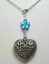 Pretty Crystal TURQUOISE FLOWER & TIBETAN SILVER HEART Car Mirror Charm