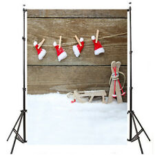 5x7ft Snow Christmas Wood Backdrop Photography Background Vinyl Props