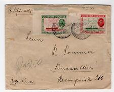 CHILE 1940 Registered cover Easter Island Ile de Paque Isla de Pascua stamps!!