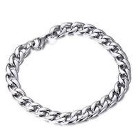 Cool Women Silver Tone Stainless Steel Bracelet Chain Link Men Bangle Jewelry