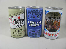 3 steel Iron City Radio Station theme cans, WEIR, WFBG, & WKIS - B/O