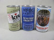 3 steel Iron City Radio Station theme cans, WEIR, WFBG, & WKIS - B/O