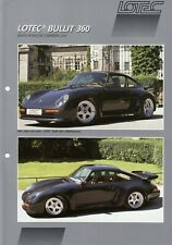 PORSCHE 911 964 LOTEC BULLIT 360 Umbau Tuning Prospekt Brochure Sheet AL