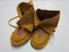 "6"" KIDS' NATIVE AMERICAN BEADED HIGH-TOP WRAP MOCCASINS"