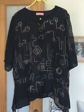 Lagenlook Black Embellished Top/ Tunic. Size 16/ 18. Fab!