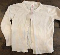 Cherokee 18 Months Girls Cream Ivory Long Sleeve Cardigan Sweater Scalloped