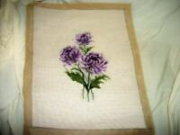 VINTAGE FLORAL NEEDLEPOINT COMPLETED PILLOW TOP FRAME PURPLE MID CENTURY