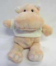 Pinky Hippopotamus Soft Toy Button Eyes, Embroidered Mouth, Rattle Baby Gift