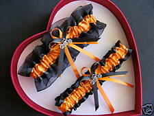 Wedding Garter Set Orange Black  Harley Biker Chick