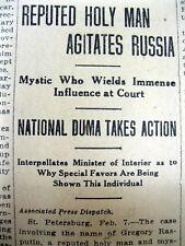 1912 newspaper wEarly report GRIGORI RASPUTIN s INFLUENCE w RUSSIAN ROYAL FAMILY