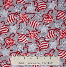 Christmas Fabric - Celebrate the Season Gray & Red Bulbs Quilting Treasures YARD