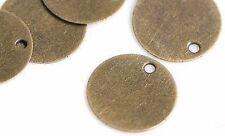 50 x Mini 10 mm bronze Round Blank stamping Tags Pendentifs Gravure Disc Jewel