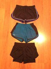 Under Armour Women's Headgear Running Shorts Lot Of Three Black Blue Size XS