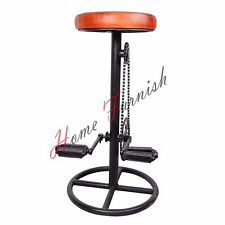 Industrial Bar Stool Bicycle Pedal Bar Stool With Leather Seat