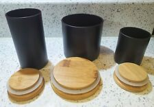 Black Frosted Glass Storage Candle Jar with Bamboo Lid and Silicone Ring