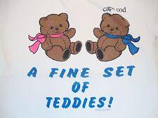 Vintage Cape Cod Set of Teddies Teddy Bears Boobs Sex Joke tourist T Shirt L