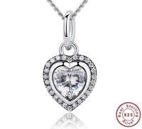 Luxus Herz Anhänger Kette Echt 925 Silber Halskette Zirkonia Kristall Geschenk