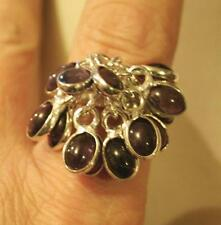 Delightful Violet Oval Stone Spangly Cluster Silverplated Finger Ring Size 9