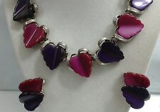 Vintage Purple & Burgundy Hearts Silver Tone Thermoset Demi Necklace & Earrings