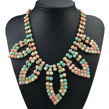 Likable Acrylic Neon Mini Plated Gold Gem Newest Bib Statement  Necklace LX967H