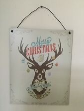 Shabby Chic Vintage Style Reindeer Christmas Tin Metal Wall Sign