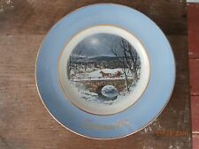 "vintage avon 1979 christmas plate "" dashing through the snow"" enoch wedgwood"
