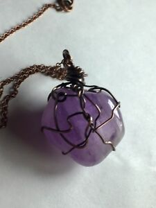 Amethyst Wire Wrapped Stone Necklace , Pendant In Antique Copper
